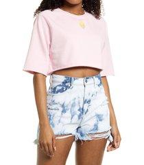 women's bp. organic cotton crop sweatshirt, size large - pink