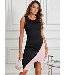 yoins vestido a media pierna con dobladillo con abertura en color negro y cuello redondo