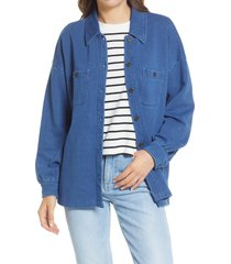 madewell women's indigo terry shirt jacket, size x-large in medium indigo at nordstrom