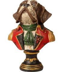 escultura decorativa de resina busto cachorro rocky