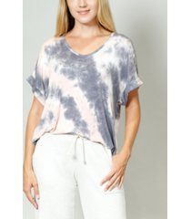 women's tie dye rolled sleeve v-neck t-shirt