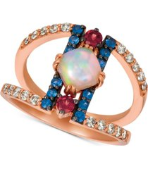 le vian multi-gemstone (7/8 ct. t.w.) & nude diamonds (1/3 ct. t.w.) statement ring in 14k rose gold