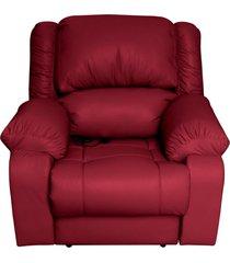 poltrona do papai reclinável elétrica com massagem magnum couro vermelho - gran belo