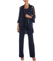 r & m richards 3-pc. sequinned jacket, necklace tank top & pants set