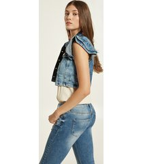 motivi gilet cropped in denim donna blu