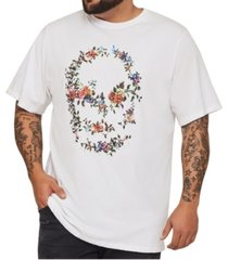 mvp collections big and tall floral rhinestone embellished skull-print tee