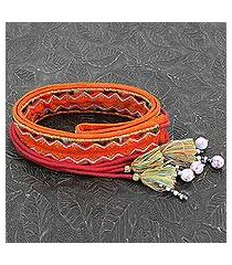 beaded cotton tie belt, 'trendy tangerine' (india)