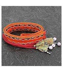beaded cotton tie belt, 'trendy tangerine' (india)