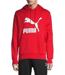 puma men's classics logo stretch-cotton hoodie - red - size l
