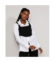 top cropped feminino mindset corset alça larga decote reto preto