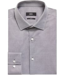 boss men's slim-fit striped cotton shirt