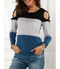 color blocking cold shoulder criss cross tee
