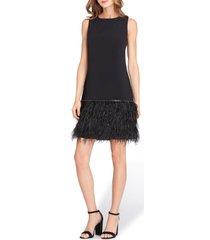 women's tahari feather detail sleeveless crepe shift dress, size 4 - black