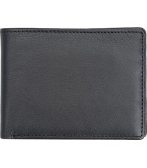 royce new york men's leather bi-fold wallet - black