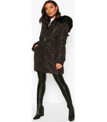 belted faux fur trim parka, black