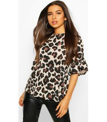 leopard ruffle sleeve smock top, tan