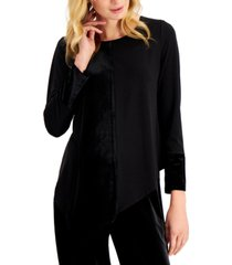 alfani plus size velvet-panel asymmetrical-hem top, created for macy's