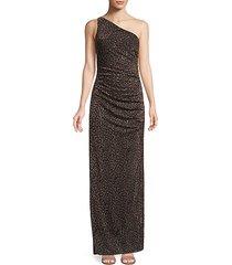 metallic leopard-print one-shoulder gown