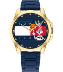 tommy hilfiger space jam blue silicone strap looney tune watch 42mm