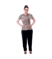 pijama ficalinda de blusa manga curta estampa animal print de onça e viés preto e calça comprida preta.