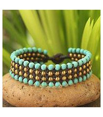 beaded wristband bracelet, 'placid sky' (thailand)
