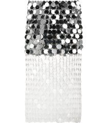 paco rabanne sparkle mirrored-disc skirt - silver