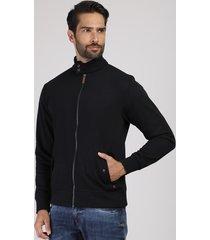 jaqueta masculina em moletom com bolsos gola alta preto
