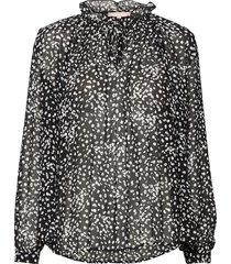 sally ls top print blouse lange mouwen zwart soft rebels