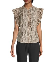 joie women's printed ruffled cotton & silk-blend top - melon - size s