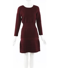 chanel wool silk cashmere textured dress red sz: s