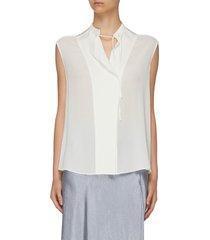 sleeveless tie neck silk blouse