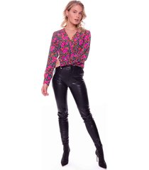 colourful rebel flower blouse 7243 elin fuchsia - paars