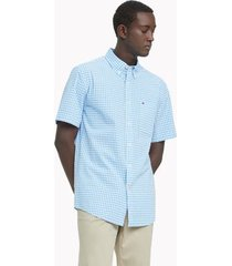 tommy hilfiger men's classic fit essential check shirt light blue/white - xxl