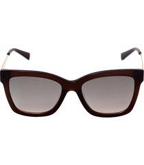 óculos de sol ana hickmann ah9258 t01/55 marrom e dourado