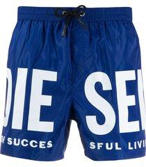 diesel logo print swim shorts - blue