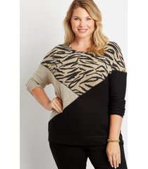 maurices plus size womens animal colorblock straight hem pullover