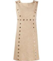 alberta ferretti eyelet embellished shift dress - neutrals