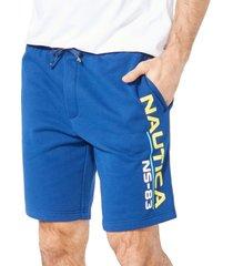 nautica men's ns-83 classic-fit logo-print knit shorts