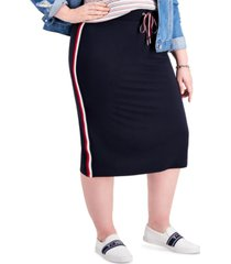 tommy hilfiger plus size logo-striped midi skirt, created for macy's