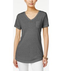 style & co v-neck burnout pocket t-shirt, created for macy's