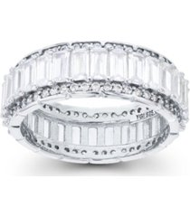 cubic zirconia emerald and baguette cut eternity ring