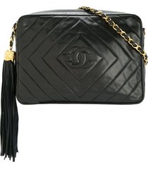 chanel pre-owned 1991-1994 cc fringe quilted shoulder bag - black