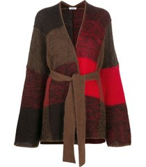 p.a.r.o.s.h. tie-waist patchwork cardigan - brown