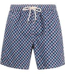 mc2 saint barth diamond pattern swim shorts - blue
