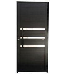 porta esquerda com friso e puxador em alumínio super 25 210x80cm preta