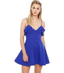 vestido nrg corto vuelos azul - calce regular