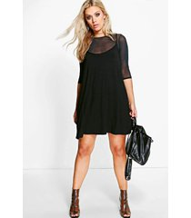 plus mesh 2 in 1 cami dress, black