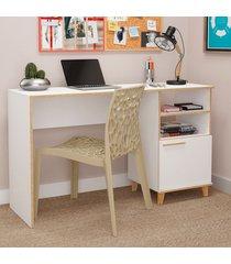 mesa para computador 1 porta oslo branco/pinus - brv móveis