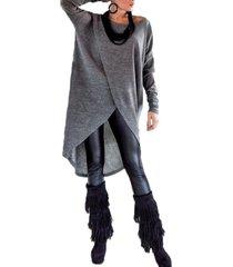 zanzea más el tamaño s-5xl mujer camisas jerseys ocasional sólida otoño tops manga larga del o-cuello blusas dobladillo asimétrico de la blusa gris -gris