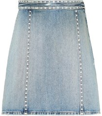 miu miu crystal embellished denim skirt - blue